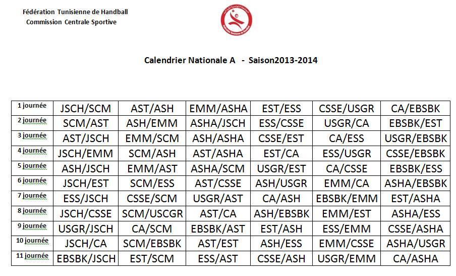 Calendrier Championnat Tunisien.Hand Ball Est Ess D Entree Voici Le Calendrier Du