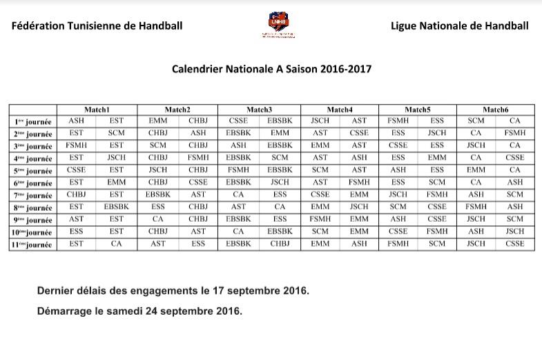 Calendrier Championnat Tunisien.Hand Saison 2016 2017 Voici Le Calendrier De La 1ere