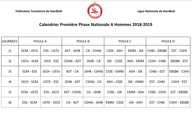 Calendrier Championnat Tunisien.Hand Saison 2018 2019 Voici Le Calendrier De La Premiere